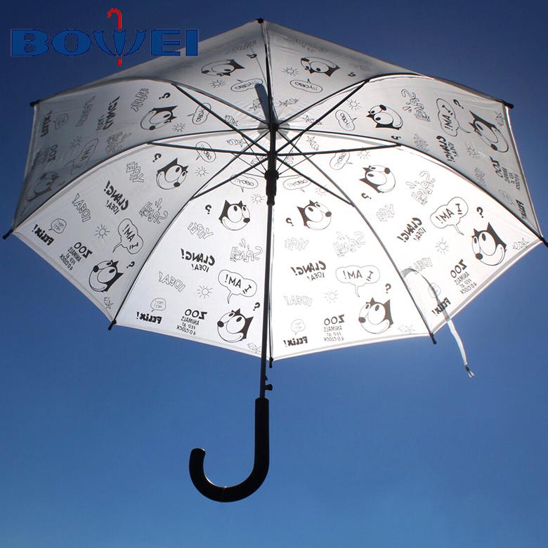 Transparent High Quality Cheap Logo Custom Cute Animal Printed Straight Umbrella Cartoon Wholesale