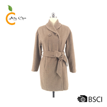Two self fabric felt buttons coats Waist tie and jackets woman