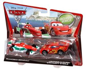 Disney Pixar Cars 2 - Francesco Bernoulli & Lightning McQueen with Party Wheels 1:55 Scale Die-Cast 2-Pack