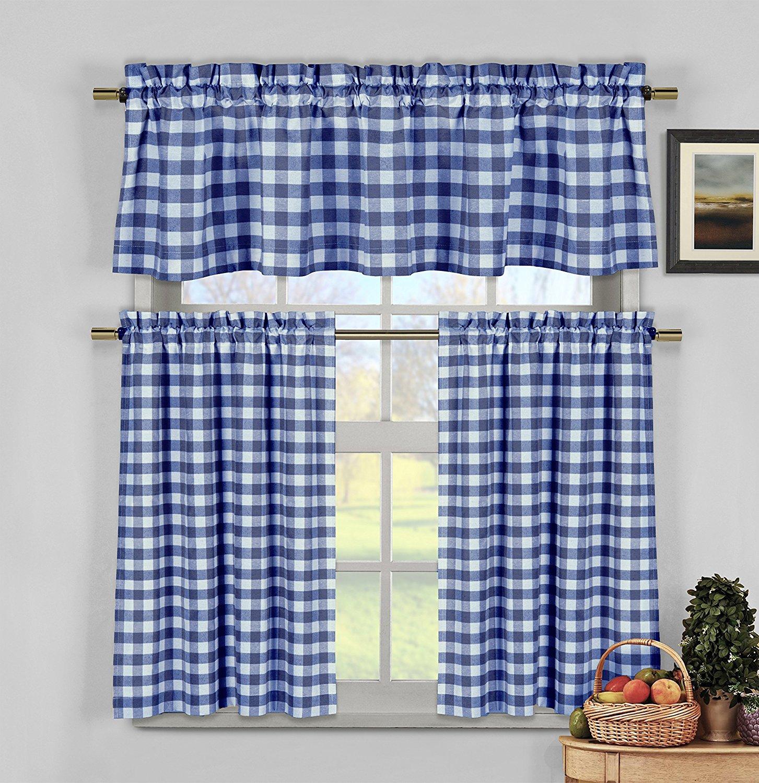 "Duck River Textiles KCKNV=12/12221 2 Piece/1 Piece Kingston Checks Kitchen Curtain 3 Piece Set, 58x15/29x36"", Navy"