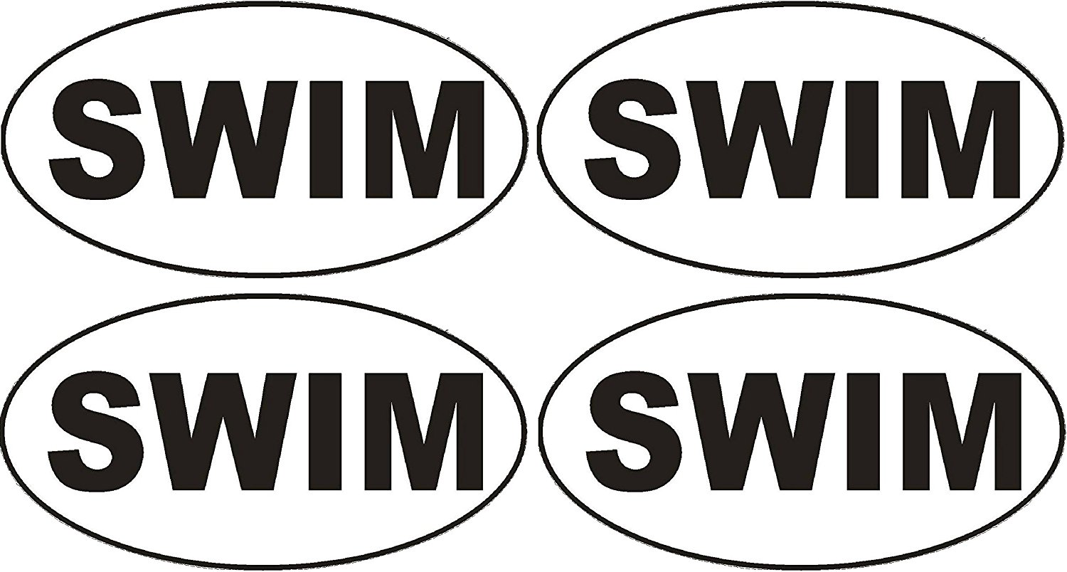 4X Best Swim Swimming Oval Euro Auto Decal Bumper Sticker Vinyl Decal For Car Truck Van RV SUV Boat Window Locker Pool Beach Swimmer