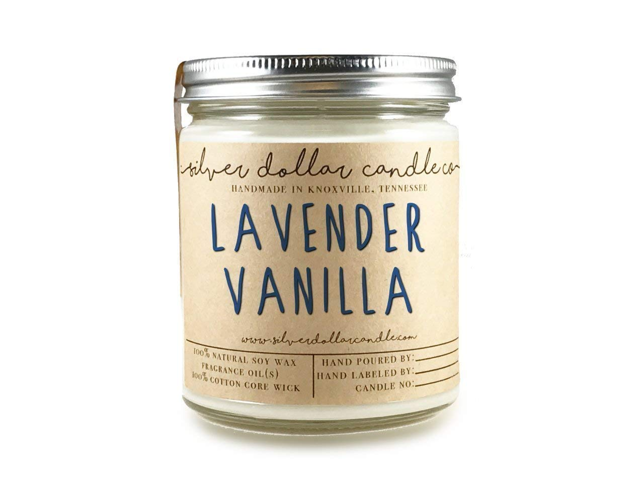 Lavender and Vanilla Handmade 8oz Scented Candle 100% Soy Wax Zinc/Lead Free Natural