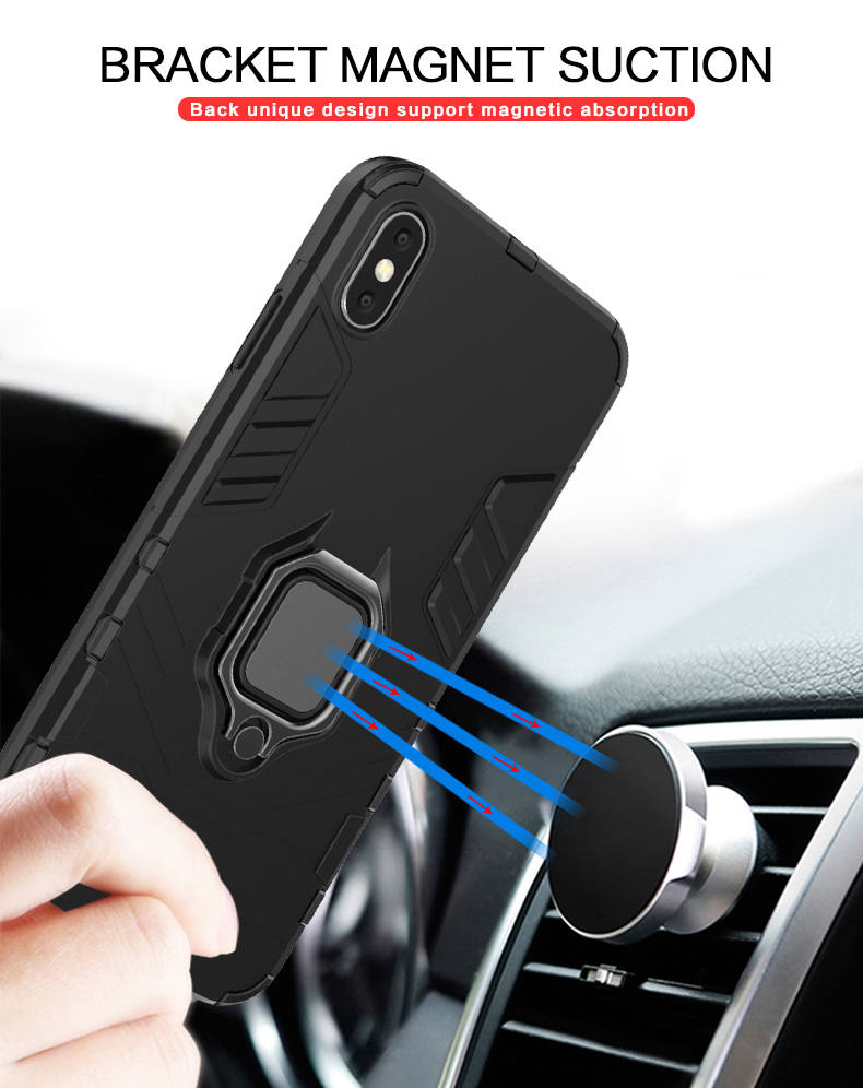 BIBERCAS Car Mount Magnetic Attraction TPU PC metal ring holder back cover phone case for iphone xs xs max