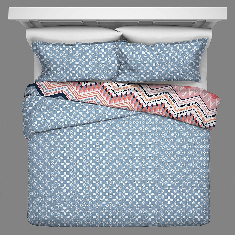 OSD 3pc Girls Light Pink Blue White Tribal Chevron Comforter Full Queen Set, Girly Horizontal Zigzag Tribe Bedding, Color Boho Chic Southwest Polka Dot Dots Themed Pattern, Navy Coral