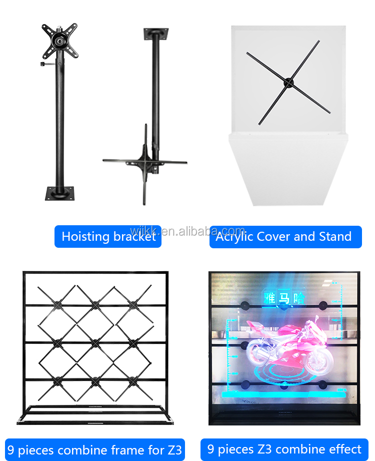 2019 New Wiikk 65cm Wifi 3D Hologram 3D Display Led Fan For Advertisement 4 Blades New
