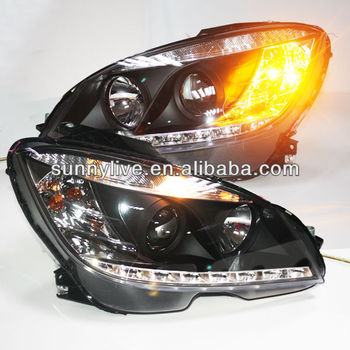 For Mercedes-benz W204 Head Lamp 2007 To 11 Black Type - Buy For ...