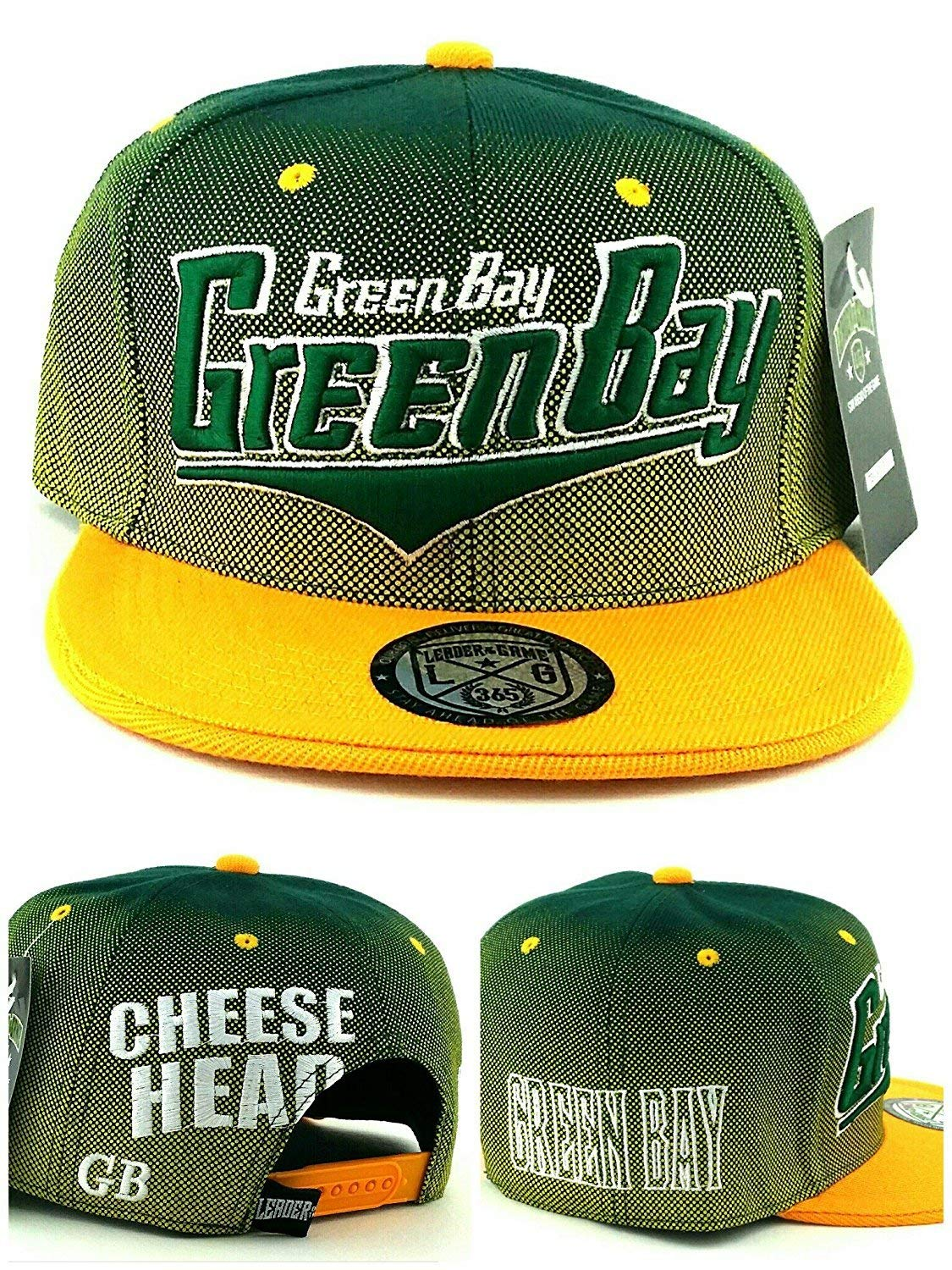 Legend of the Game Green Bay New Youth Kids Cheese Head Packers Colors Green Gold Era Snapback Hat Cap