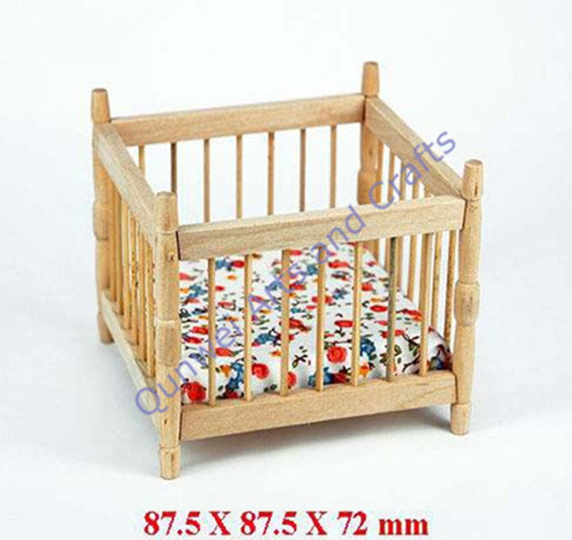Dollhouse Miniature 1:12 wooden doll furniture toys Baby Crib Cradle w/Mattress Furniture QW60143
