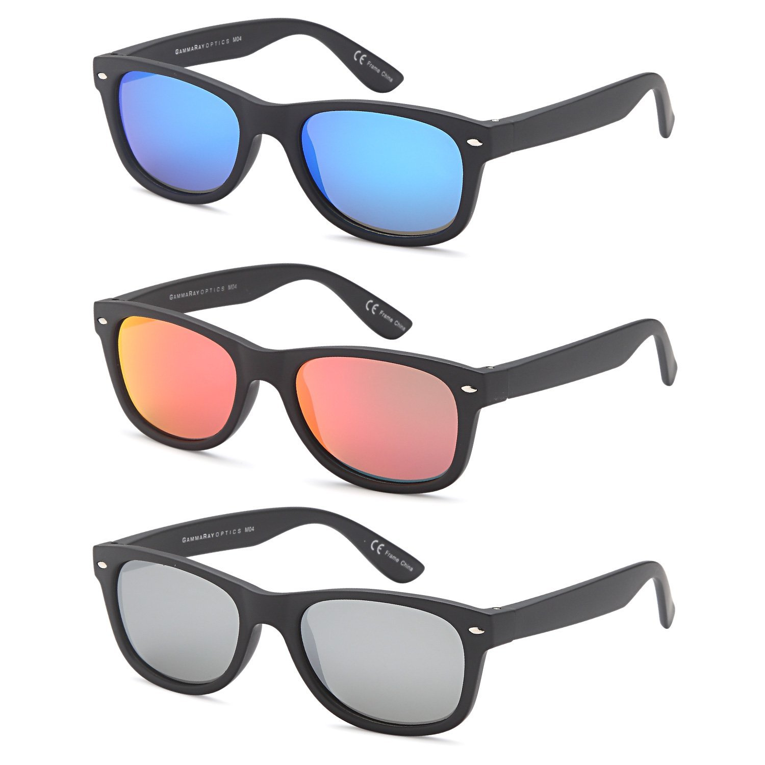 897cfb069d GAMMA RAY Polarized UV400 Classic Style Sunglasses with Mirror Lens and  Multi Pack Options