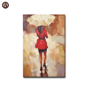 Hot Sale Palette Knife Painting on Canvas Lady with Umbrella Wall Art