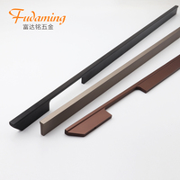 Black American style long handle for large wardrobe door shoe cabinet wine cabinet aluminium pull handle