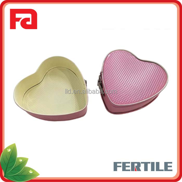 QF112896 Attractive Colour Pink Heart Shape Mini Springform Pan