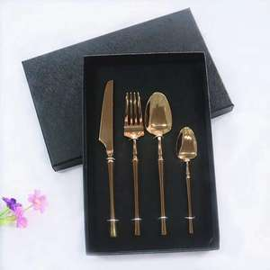 Hot sales New Design Stainless Steel Cutlery With Rose Gold Coated Cutlery Gift Box