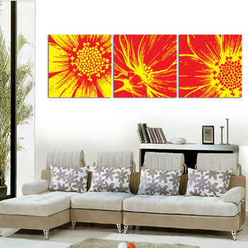 golden flower three canvas panel painting for wall decoration buy
