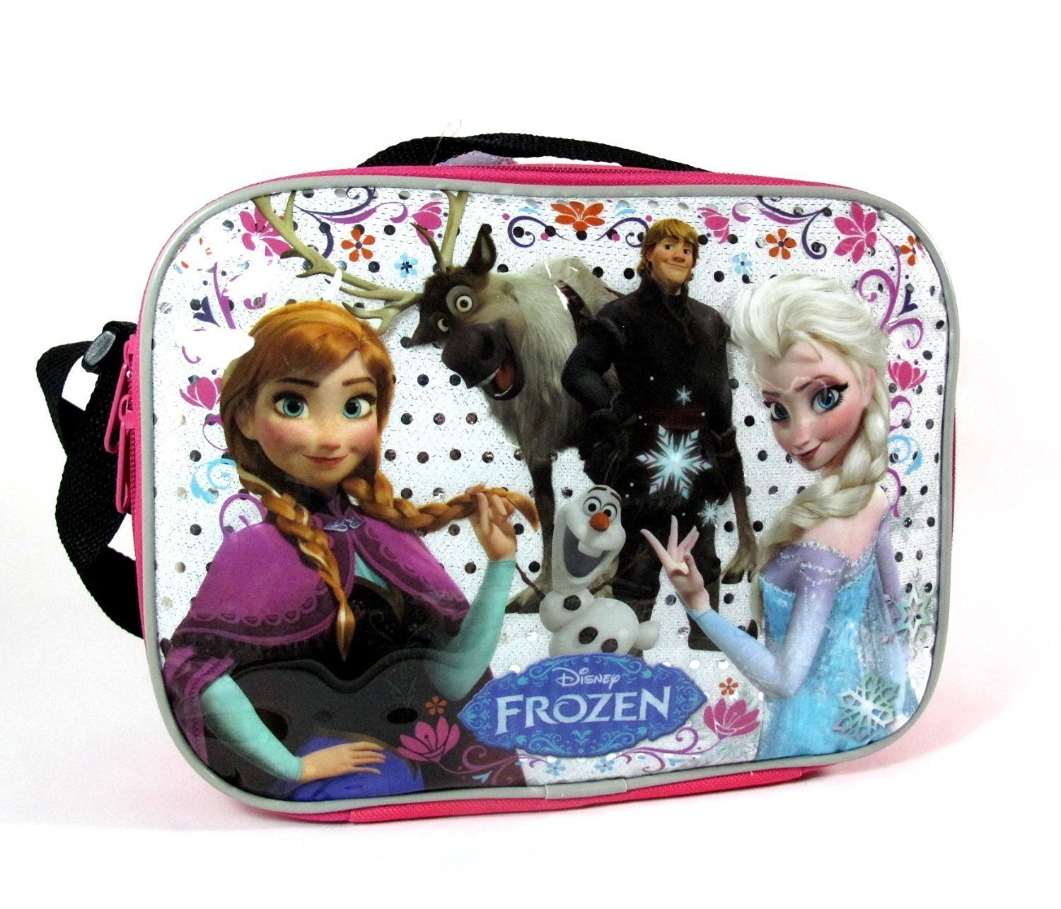 Disney Frozen Lunch Bag with Strap Features Elsa Anna Olaf Kristoff Sven & Bonus Frozen Elsa, Anna and Olaf Inflatable Beach Ball - 20 Inch