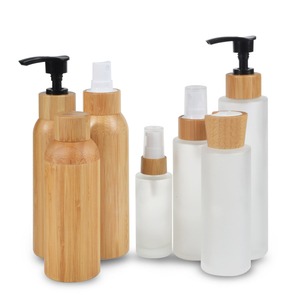 silk screen surface handling 100ml 120ml 150ml frosted glass cosmetic face cream shampoo bottle with bamboo pump
