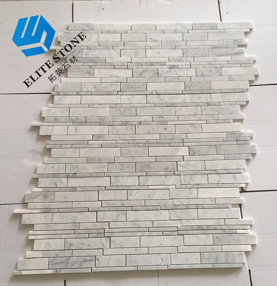 bianco carrara with Milky Way wood grain stone marble mosaic