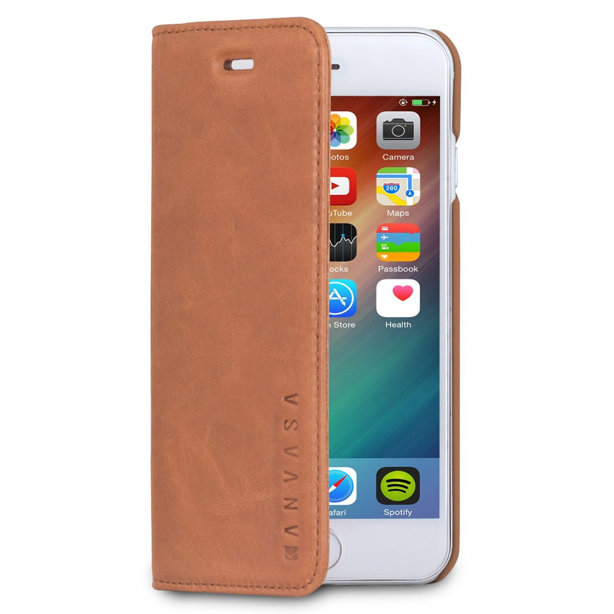 "iPhone 6 / 6s Leather Case Flip Cover Brown - KANVASA ""Pro"" Premium Genuine Leather Wallet Book Folio Case for the Original iPhone 6/6s (4.7 inch) - Ultra Thin with Magnetic Closure"