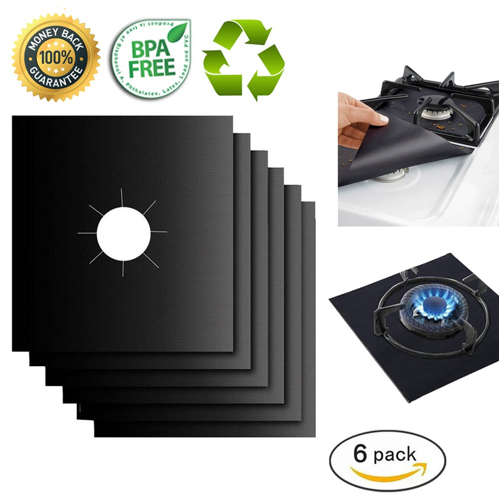 "Gas Range Protectors Liner Covers Reusable Gas Stove Burner Covers, 10.6"" X 10.6"", Double Thickness 0.2MM, Non-Stick, Fast Clean, FDA approved (6 packs)"