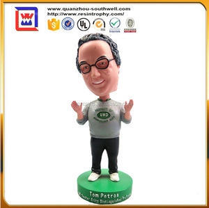 promotional hand made bobble head and polyresin reain bobble head and nodding head