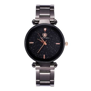 VK-5149 hot selling lady black steel belt quartz casual wrist watch for men women