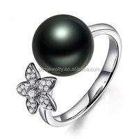 PES Fine Jewelry! Black Pearl Flower Open Finger Size Ring (PES6-1924)