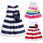 Girls Dress 2017 New Summer Children Casual Sleeveless Stripe Rainbow Color Mini Dress Princess Dress with Bowknot