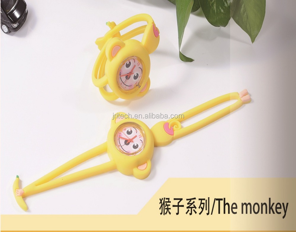 Hot New Water Resistance 3D Monkey Shape Silicone Watch for Children, Animal Silicone Watch for Kids