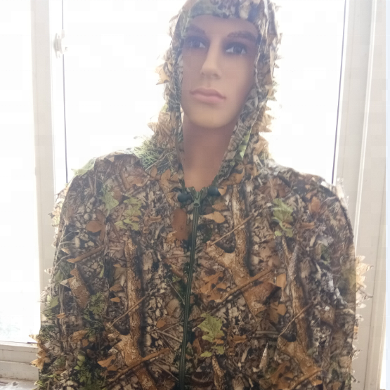 3D Woodland Leafy Camo Suit Hooded Ghillie Leaf Suit for Outdoor Jungle Hunting