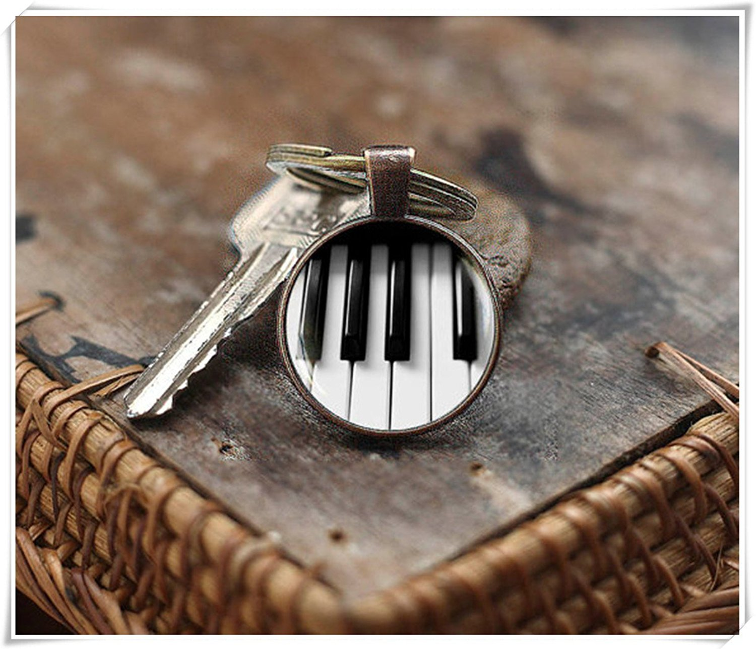 Piano key buckle, classical music gift, glass dome key button, pure handmade