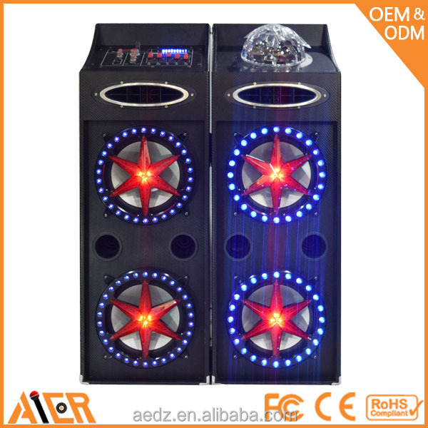 Led light flashing active wooden speakers with built in amplifier,powered loudspeakers