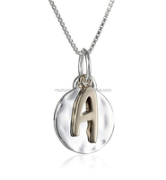 925 Sterling Silver and 14k Gold Flashed Initial Pendant necklace with box chain