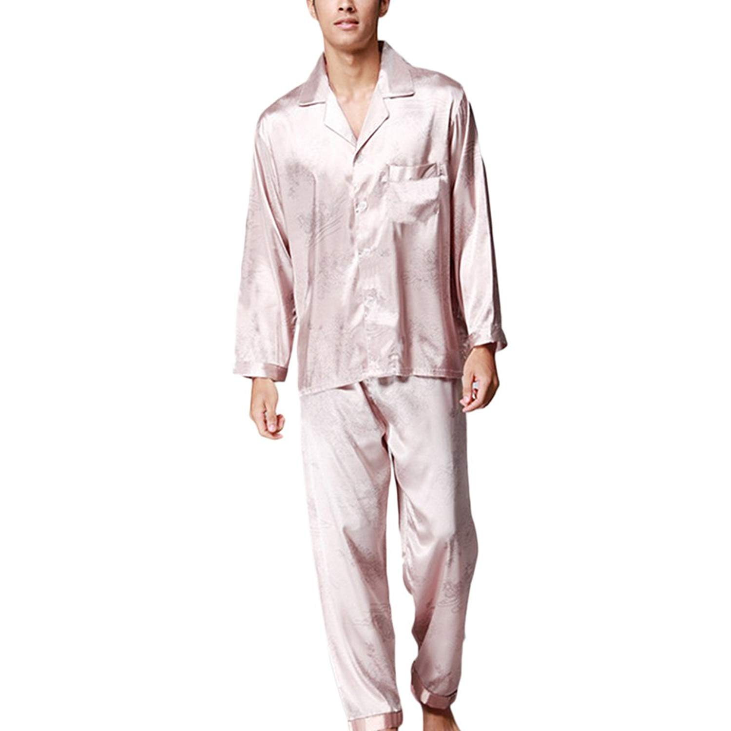 c590b4d9e4 Get Quotations · Zhhlinyuan Two Pieces Home Clothing Nightwear Mens Long  Sleeve Silk Pyjama Set