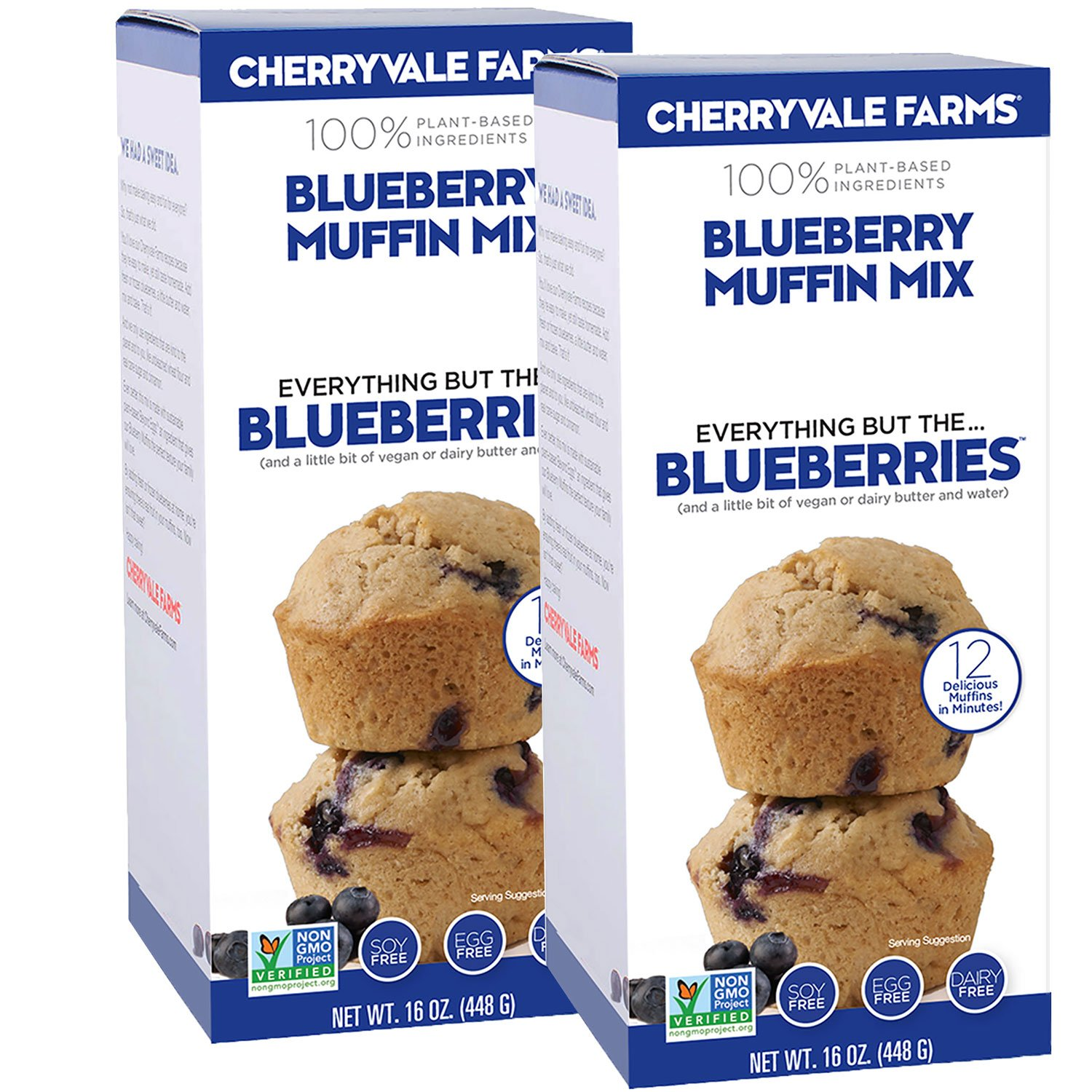 Cherryvale Farms, Blueberry Muffin Baking Mix, Everything But The Blueberries, Add Fresh Produce, Tastes Homemade, Non-GMO, Vegan, 100% Plant-Based, 16 oz (pack of 2)