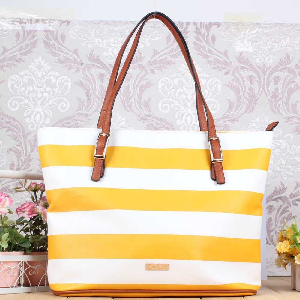 Newly simply stripe fashional leisure leather bag