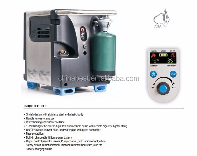 Aga Approved Outdoor Camping Gas Water Heater With Shower