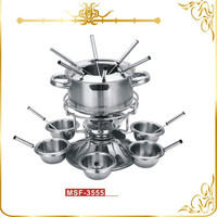 MSF-3555 24pcs stainless steel fondue set chocolate fondue pot boiler insert for cheese & chocolate