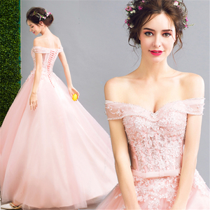 Ball Gown Baby Pink Hot Sale Alibaba New Collections Evening Dress