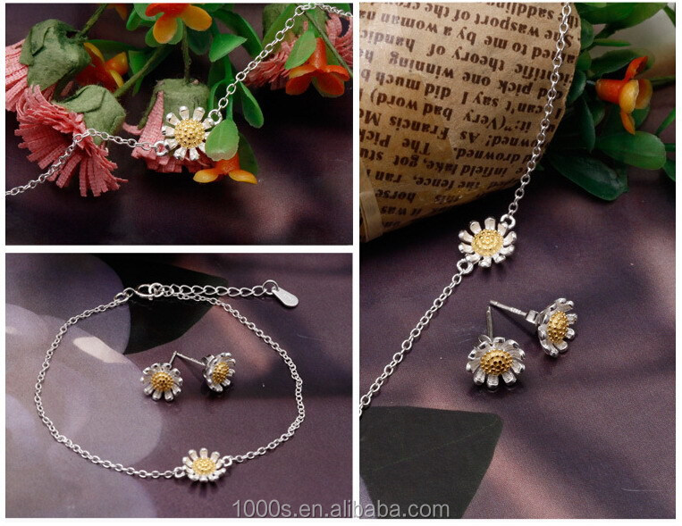 Classic Fashion 925 Sterling Silver Jewelry Set Flower Rings