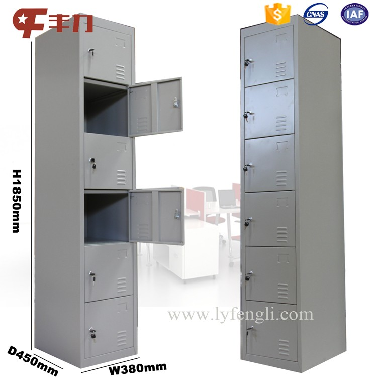 6 Door Steel Locker Cabinet/6 Tier Storage Metal Locker/6 Compartment  Wardrobe