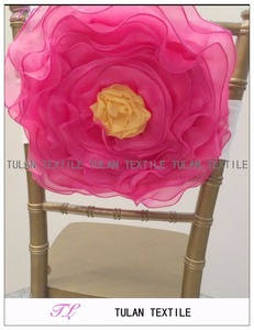 Hand Made Two color organza Flower Chair Sash decoration