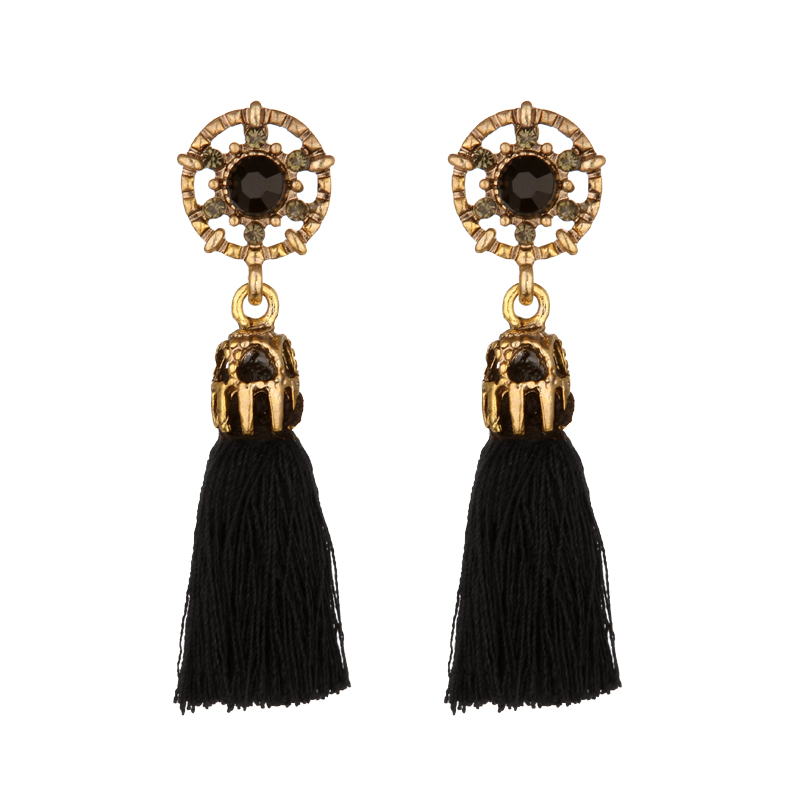 4 Colors Boho Rope Tassel Earrings Vintage Gold Color Dangle Earrings for Women Girls Ethnic Bohemian Jewelry wholesale