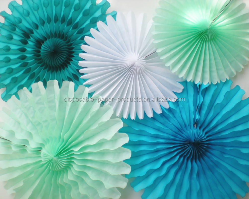 Tissue Paper Fans Paper Rosettes Paper Fans Mint Green,Teal,Turquoise,White  For Photo Backdrop,Pinwheel Backdrop - Buy Mint Green Paper