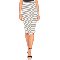 fashion black white stripes printed bodycon women jersey maxi skirts