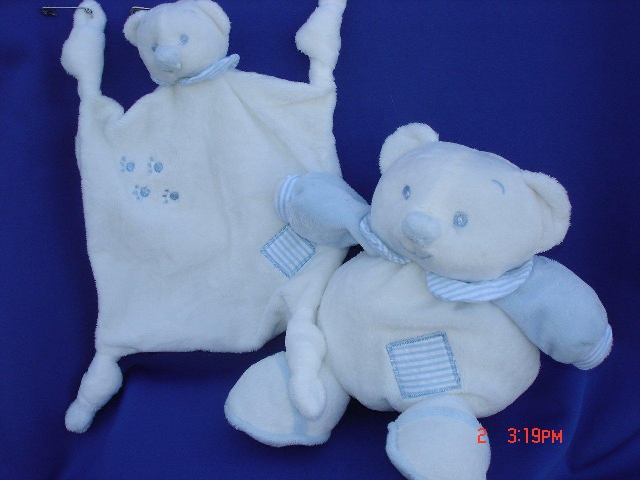 "Ultra Soft Baby Blue Teddy Bear Plush Blankie 7.5""x7.5"" Security Blanket Lovie and My First Baby Blue Plush Teddy Bear Stuffed Animal Toy Rattle 7"" Tall, 2 Pcs Set"