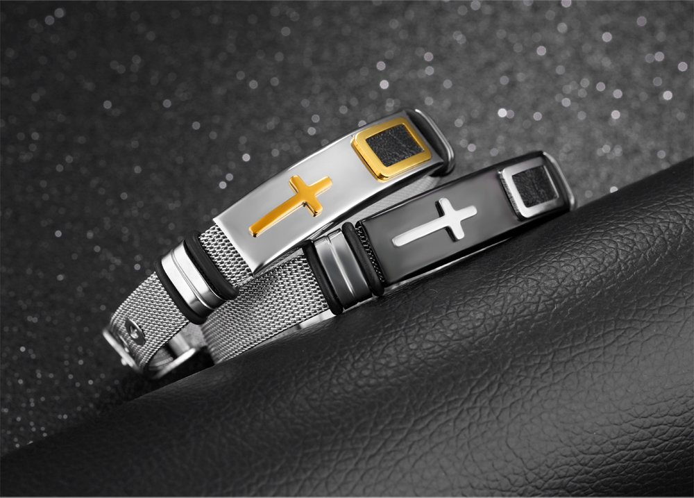 2017 Italian Stainless Steel Stretch Mesh Cross Boy Men'S Bracelets And Bangles