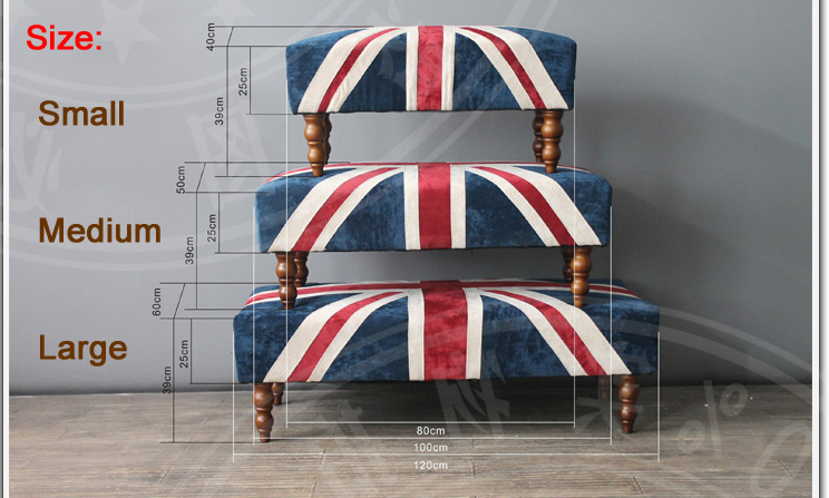 S1501 2015 new design fabric union jack ottoman, View