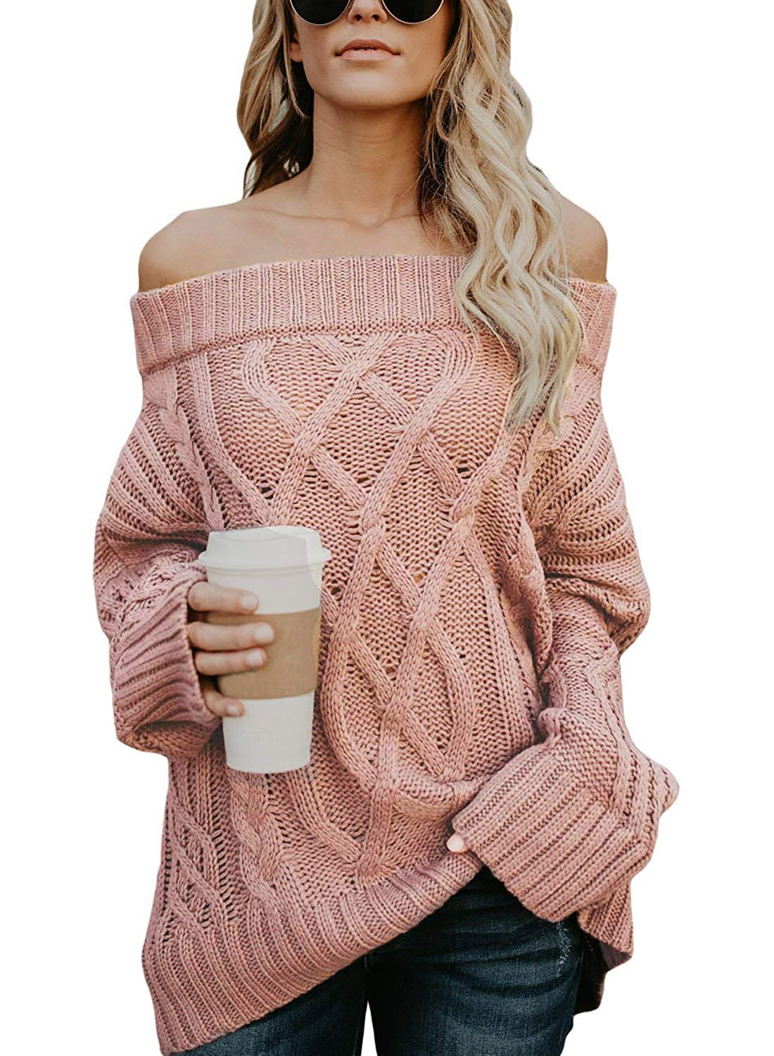 1dc2132ace Get Quotations · CNJFJ Womens Fall Off The Shoulder Sweater Sexy Tunic  Cable Knitted Pullover Sweater