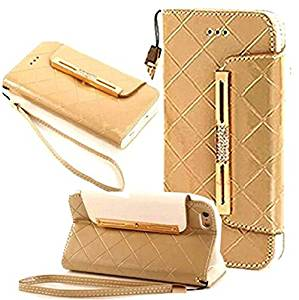 For iPhone 5,iPhone 5 Case,iPhone 5 Phone Case,iPhone 5 Wallet Case,iPhone 5 Leather Case,iPhone 5 Case for Women,Canica Wallet Flip Leather Case Pouch Cover for iPhone 5 5S Gold