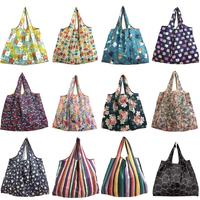 Foldable Reusable Grocery Bags Cute Designs Folding Shopping Tote Bag Fits in Pocket Recyclable Large Fabric Bulk Bags shopping